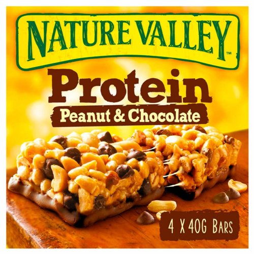 Nature Valley Protein Peanut & Chocolate Cereal Bars 40g (Pack of 32 bars) (8 packs of 4 bars)