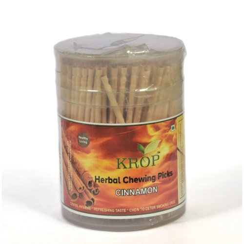 KROP Herbal Chewing Picks - 300 Sticks (Cinnamon Flavoured Toothpicks)