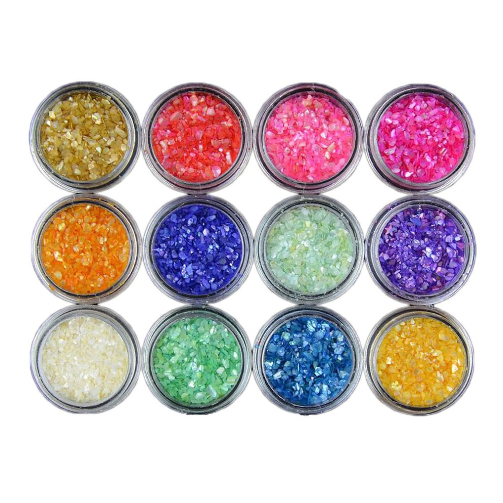 Small Light Colorful Broken Stones Nail Art Accessories 12 Color On