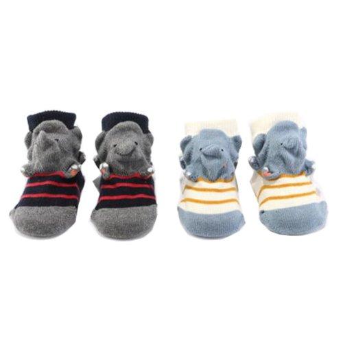 2 Pairs Non-slip Newborn Baby Toddler Socks Warm Stockings Baby Gift 9-11.5 CM For 0-1 Year Baby-Dinosaur