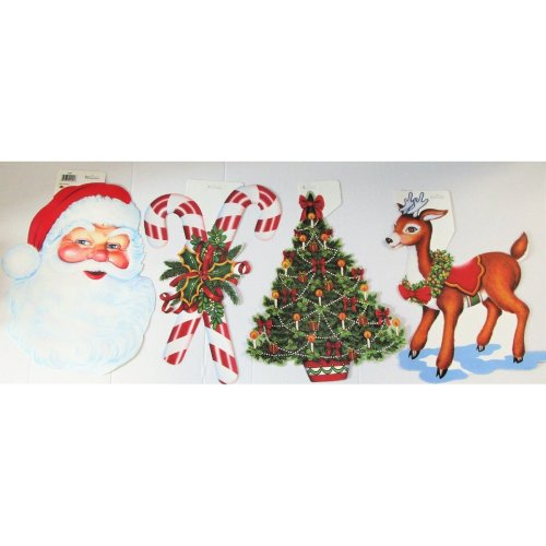 Christmas Cutouts.Pack Of 4 Assorted Christmas Cutouts Party Decorations Santa Reindeer Etc
