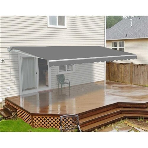 Aleko AWM8X6.5GY80-UNB 8 x 6.5 ft. Motorized Retractable Home Patio Awning - Solid Grey