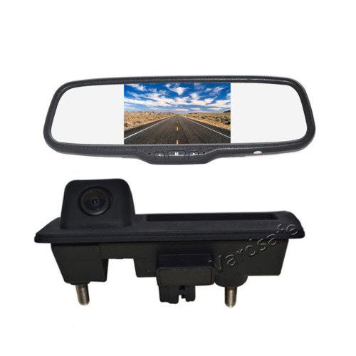 Vardsafe Reverse Backup Camera + 5inch Clip-on Rear View Mirror Monitor for Volkswagen Passat Tiguan Golf Touran Sharan