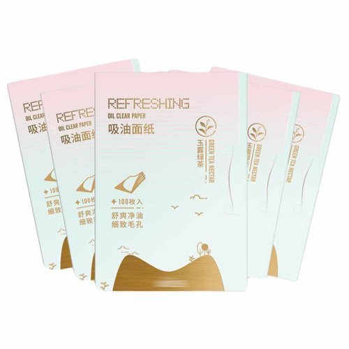 Green Tea Oil Blotting Paper Pack of 5, includes 500 Sheets