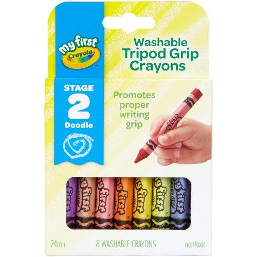Crayola My First Washable Tripod Grip Crayons-8/Pkg