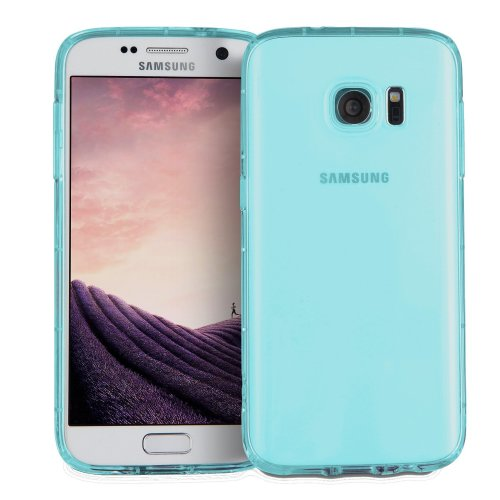 finest selection 9ddd9 17395 MyGadget Soft Silicone TPU Clear Case for Samsung Galaxy S7 - Shockproof  Air Cushion Bumper - Protective Anti Scratch Back Cover in Transparent Blue