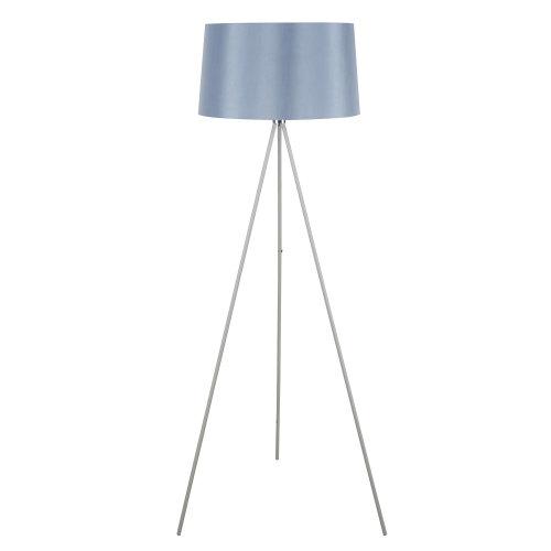 HOMCOM Standing Floor Lamp Bedside Light Metal Linen Shade Free Standing Grey
