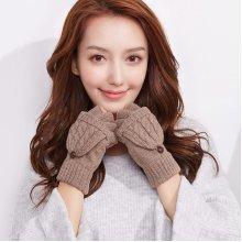 Women Half-finger Convertible Knitted Mittens