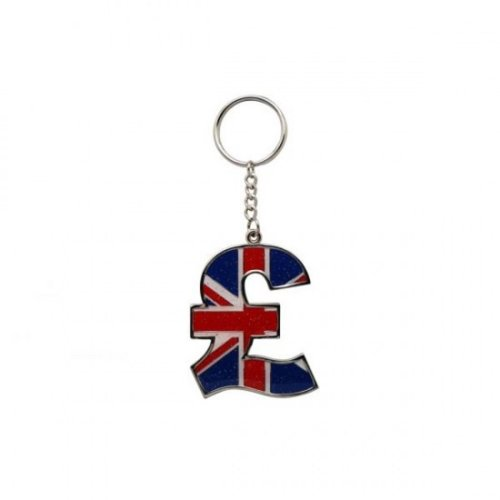 Union Jack Flag Pound Sign Keyring Keychain Souvenir Gift UK GB Currency Metal