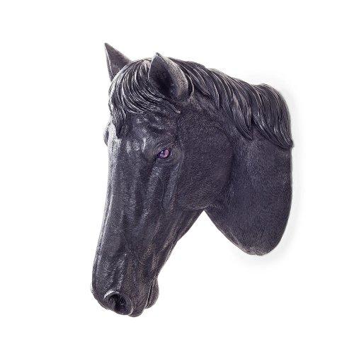 Wall Mountable Realistic Jet Black Horse Head Garden Feature Ornament
