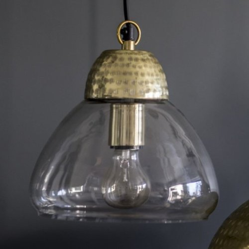 Glass Pendant Light with Antique Gold Detail