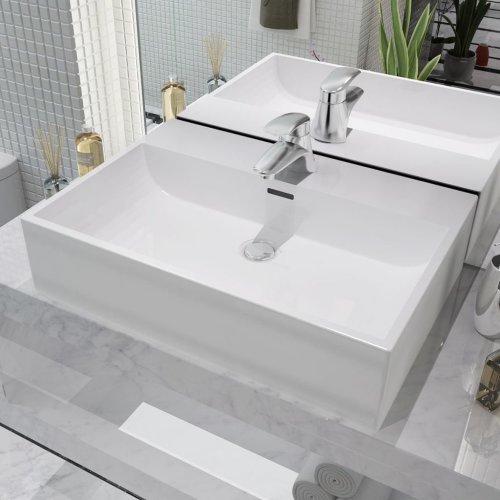 vidaXL Basin with Faucet Hole Ceramic White 60.5x42.5x14.5 cm