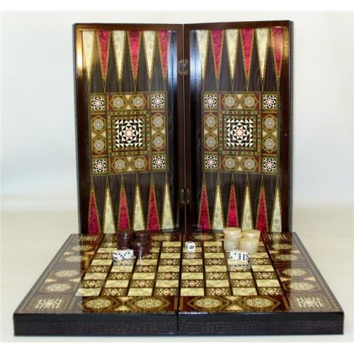 20 in. Pearl Mosaic with Chessboard - Decoupage Wood Backgammon