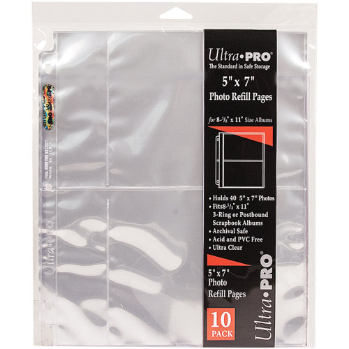 "Ultra Pro 8.5""X11"" Refill Pages 10/Pkg-For 5""X7"" Photos"