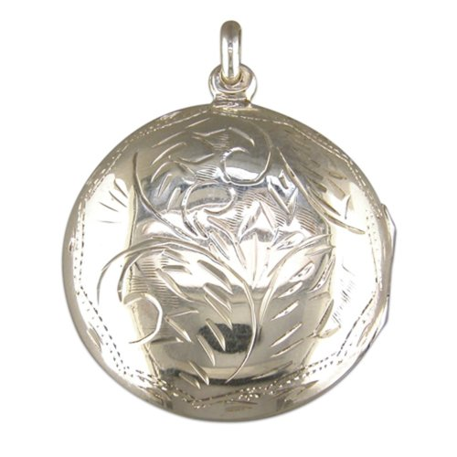 Childrens Sterling Silver Medium Round Engraved Locket On A Curb Necklace