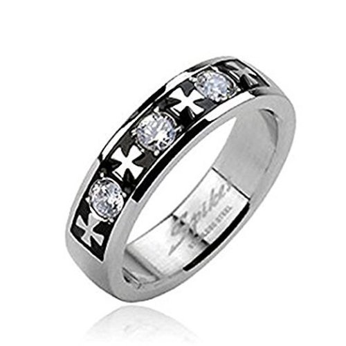 Triple Clear Crystal Cetic Cross Design 6mm Width Surgical Steel Band Ring