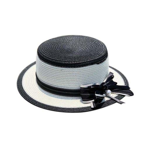 Womens Sun Straw Hat with Bow Belt Girls Sun Protection Short Brim Hats, Black