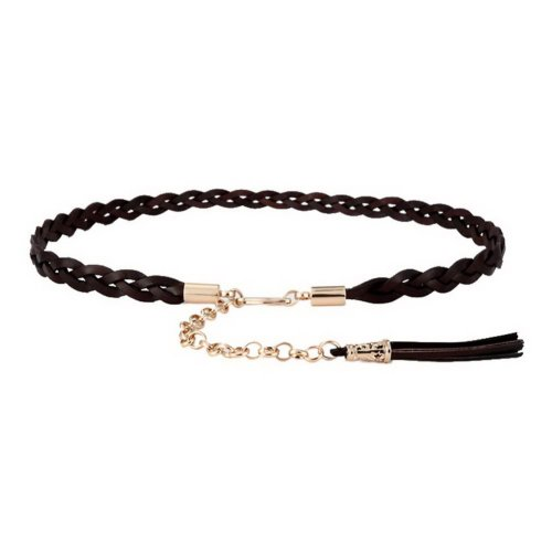 Retro Waist Belts For Women Thin Belt Decorative Dress Woven Fashion (Coffee)