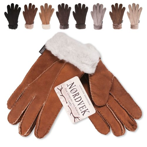 Nordvek Sheepskin Gloves Women - Fold Back Cuff # 301-100 [Black] [Large - 8]