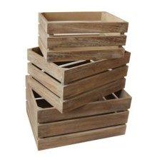 Oak Effect Slatted Wooden Storage Crate Set 3