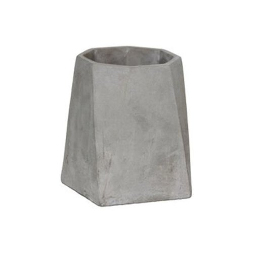 Cement Round Flower Pot, Gray - Large