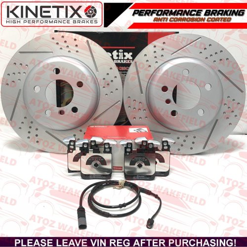 FOR BMW 340i REAR DIMPLED GROOVED BRAKE DISCS BREMBO PADS WIRE SENSOR 345mm