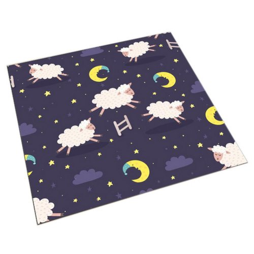 Square Cute Cartoon Children's Rugs, Good Night Running Cartoon Lambs