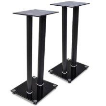 2 pcs Glass Speaker Stand (Each with 2 Black Pillars)