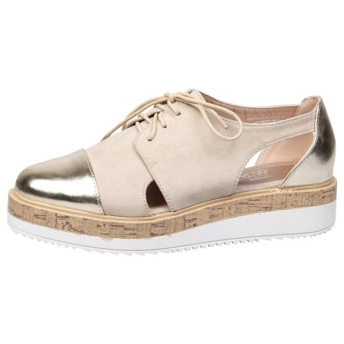 Loretta Womens Low Heel Lace Up Flatform Brogues