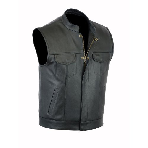 Mens motorbike cut off vest with chrome leather