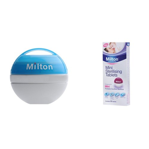 Milton Bundle Mini Portable Soother Steriliser Sky Blue & Mini Sterilising Tablets (contains 50 Tablets)