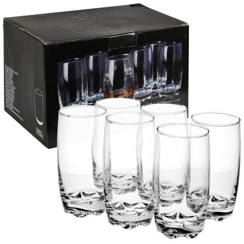 6 PCS 375ml Drinking Glasses Cups Set with Thick Bases