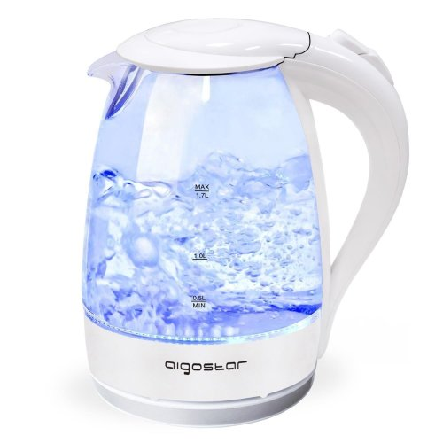 Aigostar Eve 30KHT - Glass Water Kettle with LED Lighting, 2200 Watts, 1.7 Liter, Boil-Dry Protection, BPA Free, White. Exclusive Design