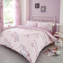 Star Unicorn Pink Duvet Cover Bedding Set