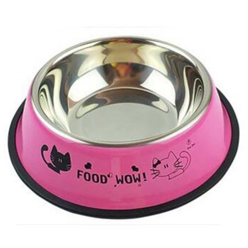 Little Stainless Steel Bowl Set Feeding Pot/Pet Bowl/Dog Bowl/Cat Bowl For Food & Water M Size (Pink#02)