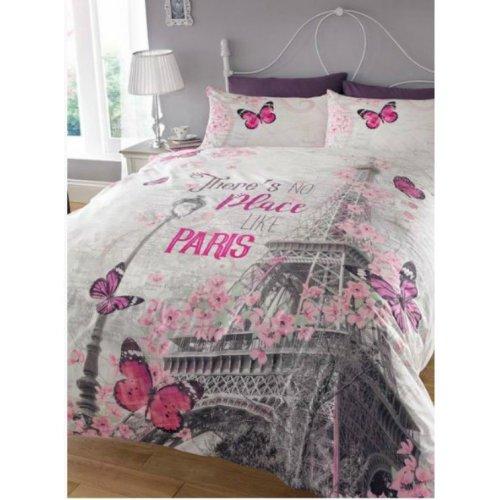 Paris Romance Grey Pink Eiffel Tower Butterfly King Size Duvet Set