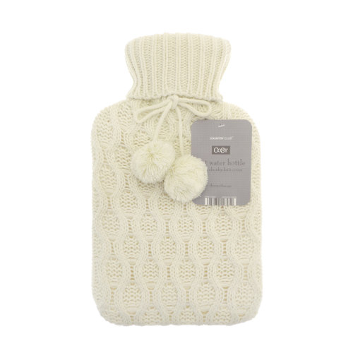 Country Club Cable Knit Hot Water Bottle, Cream