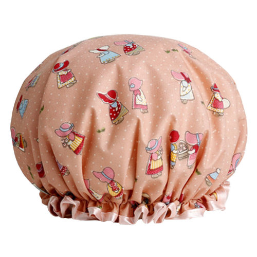 Womens Stylish Design Mold-resistant Shower Cap Double Layers Waterproof Bath Cap,K