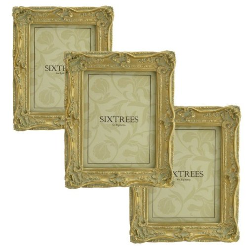 TRIPLEPACK Sixtrees Chelsea 5-250-68 Shabby Chic Very Ornate Antique Gold 8x6 inch Photo Frames