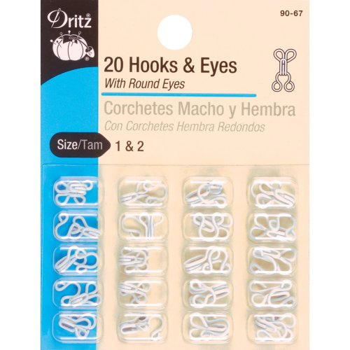 Dritz Hooks & Eyes 20/Pkg-White Size 1 & 2
