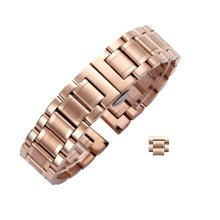 Useful Steel Wrist Replacement Straight Cut Butterfly Clasp Watch Band/Strap