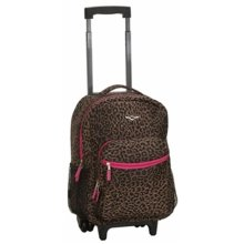 115573fae0 Rockland R01-PINKLEOPARD Roadster 17 in. Rolling Backpack