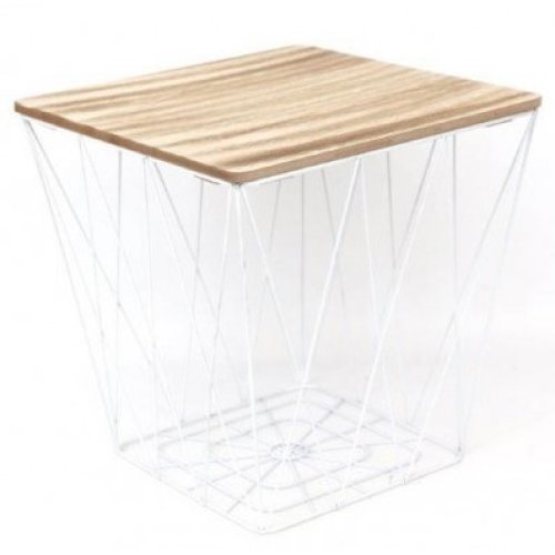 Square White Geometric Table Metal Wire Wood Side End Storage Table