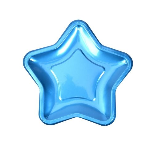 Foil Star Plate - Small - Blue - 8 Pack