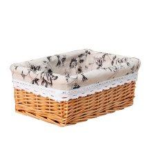 Wicker Basket Food Storage Basket Cosmetic Storage Basket, Natural Color[Ink]