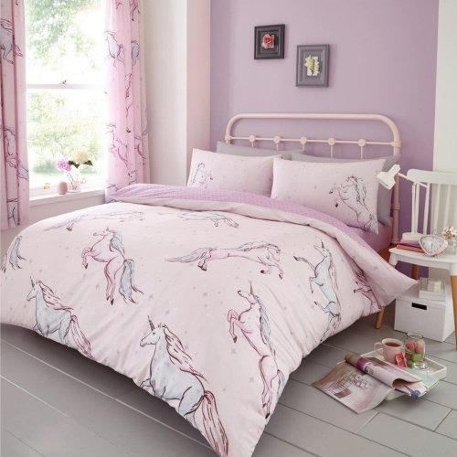 Star Unicorn Pink Duvet Cover Bedding Set