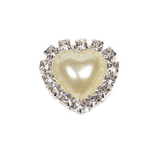 10 x Mini Diamante and Pearl Heart Embellishment Grade A Rhinestones Approx Size 1.5cm