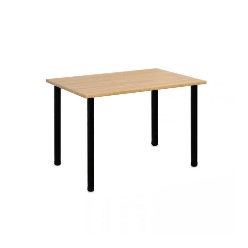 Computer Desk Office Dining Table Workstation Black Legs Oak Top 120x80cm