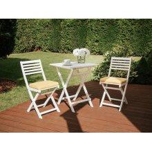 White Wooden Garden Bistro Set with Cushions FIJI