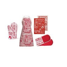 Porter Oven Gloves, Apron And Tea Towels, Red, Set Of 5